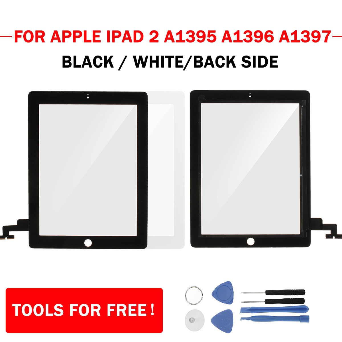 Touch Screen Digitizer Glass Replacement +Tools for iPad 2 A1395 A1396 A1397