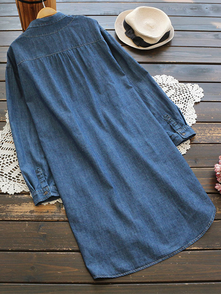 Women Long Sleeve Denim Buttons Asymmetrical Casual Shirt