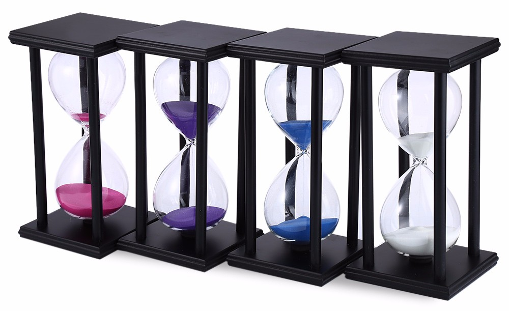 60 Minutes Sand Hourglass Timer Sandglass Countdown Timing Clock Timer Office Decoration Black Frame