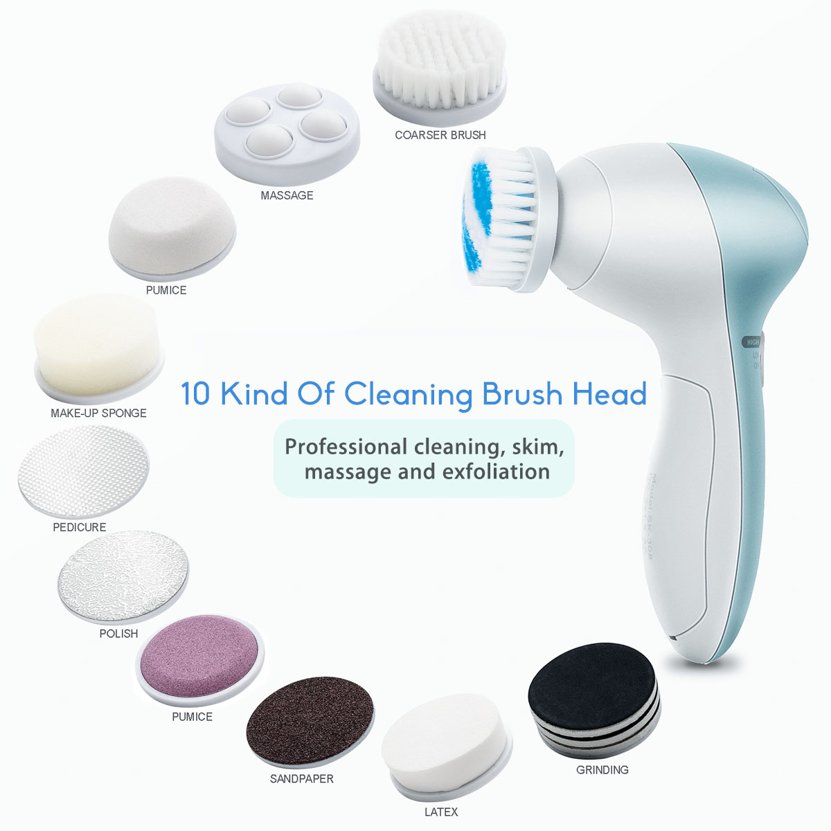 11 in1 Electric Facial Cleaner Face Brush Cleansing Massager