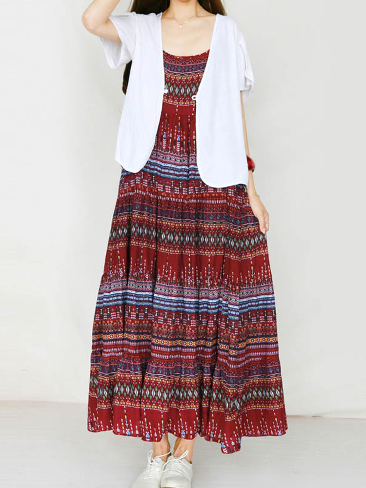 Women Spaghetti Strap Boho Floral Maxi Dress