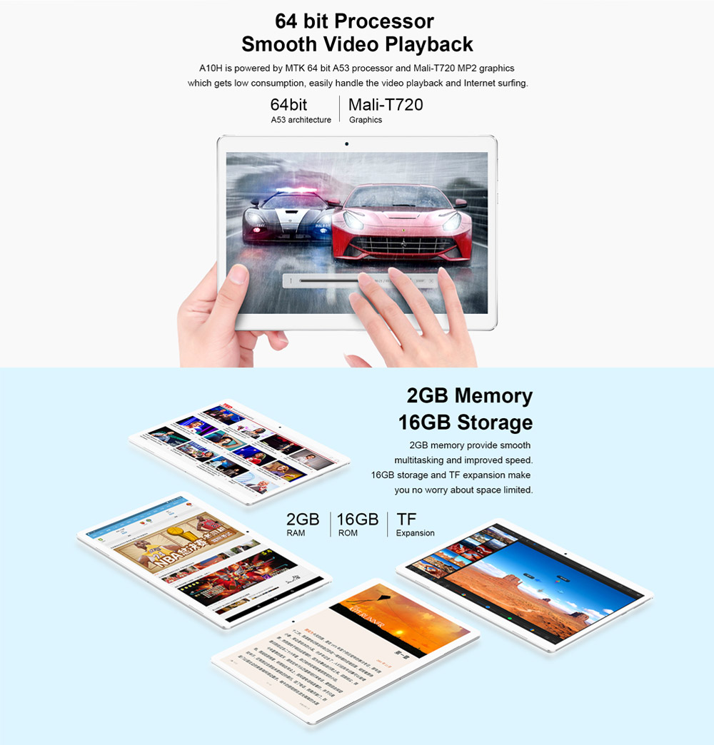 Teclast A10H MT8163 2G RAM 16G Android 7.0 10.1 Inch Tablet