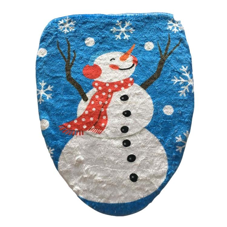 Bathroom Christmas Snowman Toilet Seat Cover Happy Santa Closestool Decorations