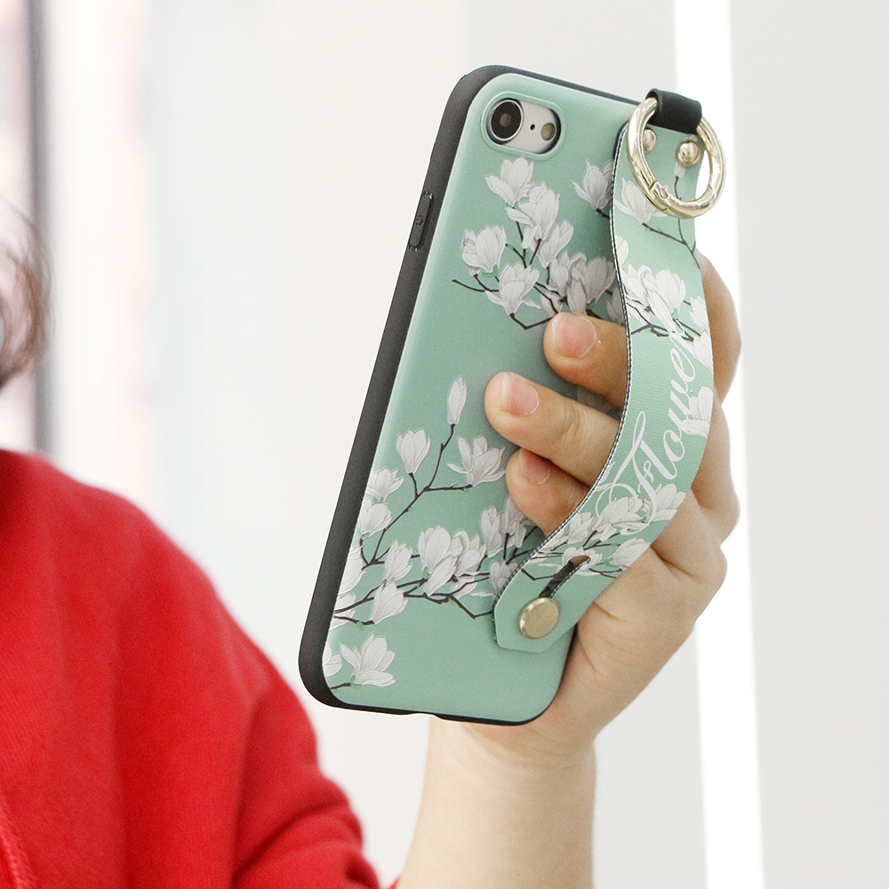 Vintage Flower Pattern Strap Ring Grip Stand Protective Case For iPhone XR/XS/XS Max/X/8/8 Plus/7/7 Plus/6s/6s Plus/6/6 Plus