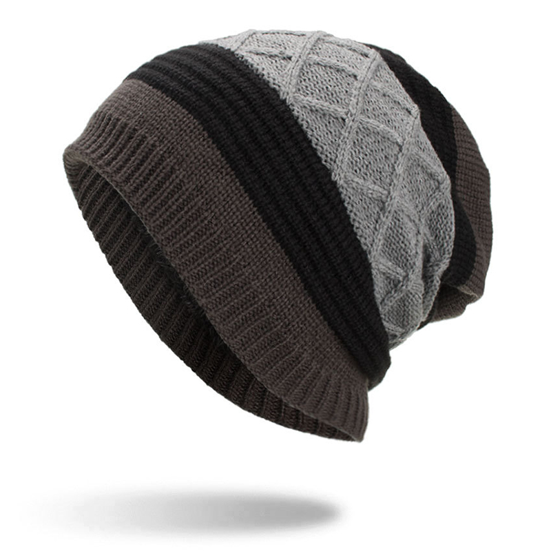 Winter Stripe Plaid Plus Velvet Earmuffs Knitted Hat Beanie