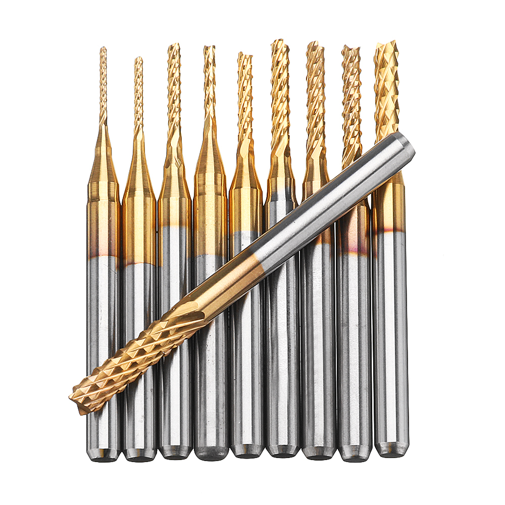 Drillpro DB-M1 10pcs 0.8-3mm Titanium Coated Engraving Milling Cutter Carbide Bits