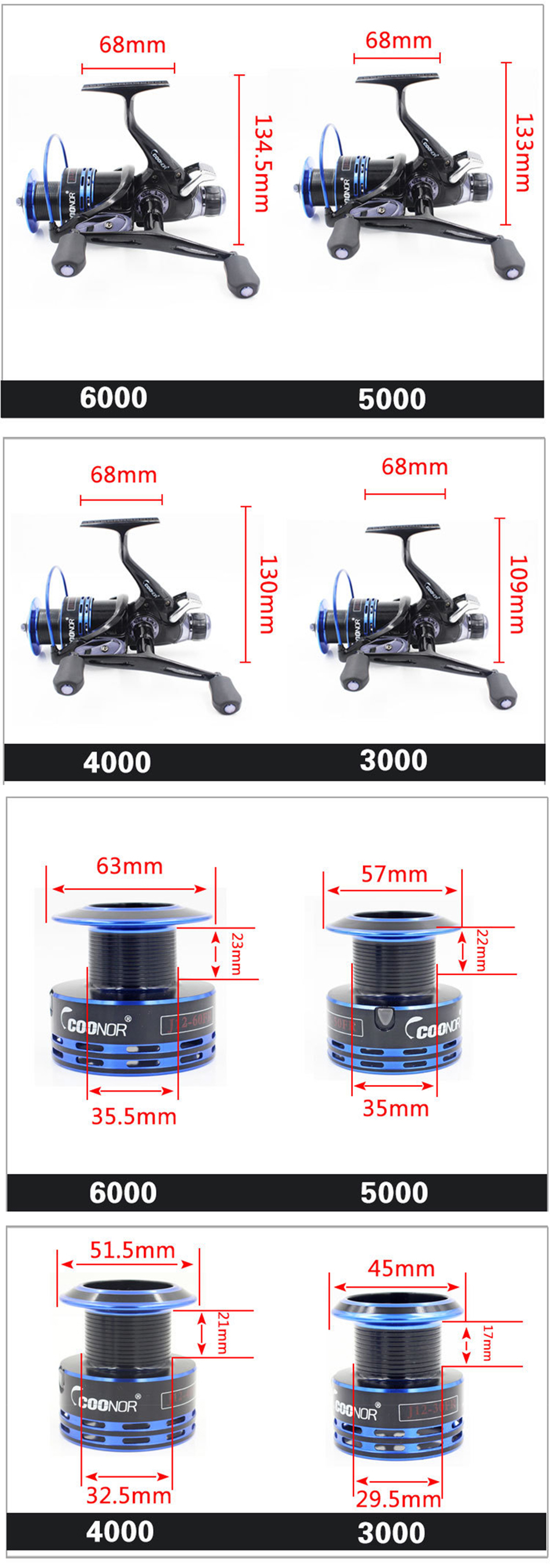 Bobing Coonor 9+1BB 5.1:1 Double Unloading Rocker All Metal Spool Saltwater Spinning Fishing Reel
