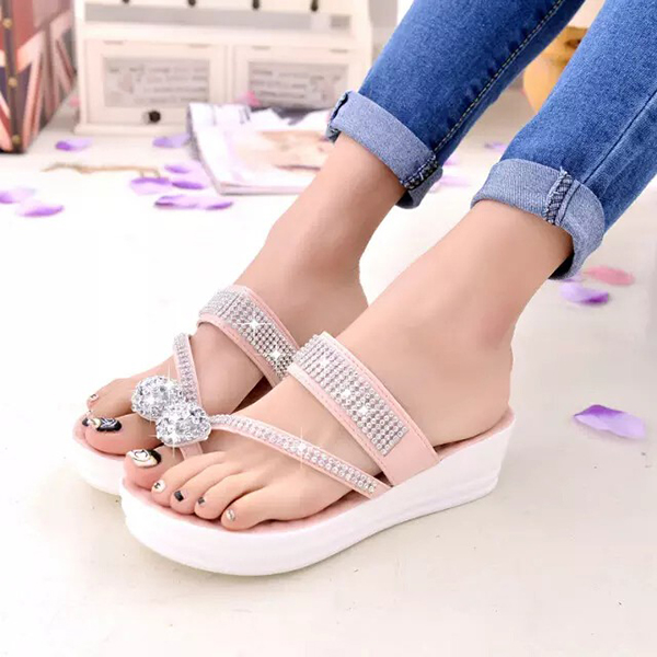 Women Casual Comfortable Slip On Platform Toe Ring Flip Flop Sandals Beach Slipper Shoes
