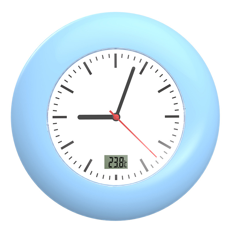 Bathroom Shower LCD Waterproof Wall Clock White and Blue Large Sucker Cup Thermometer