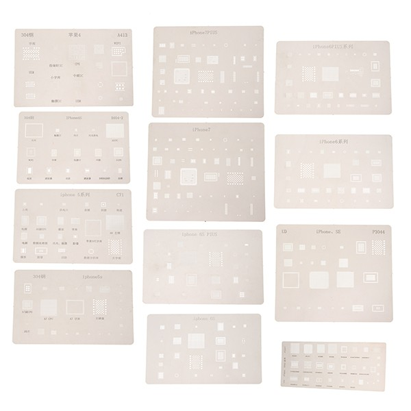 12pcs IC Chip BGA Reballing Stencil Kits Set Solder Template for iPhone4/4s/5/5s/6/6 Plus/6s/6s Plus/7/7 Plus/SE/Ipad