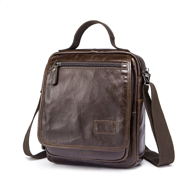 Men Genuine Leather Coffee Crossbody Bag Business Messenger Bag for 10.5 inch ipad