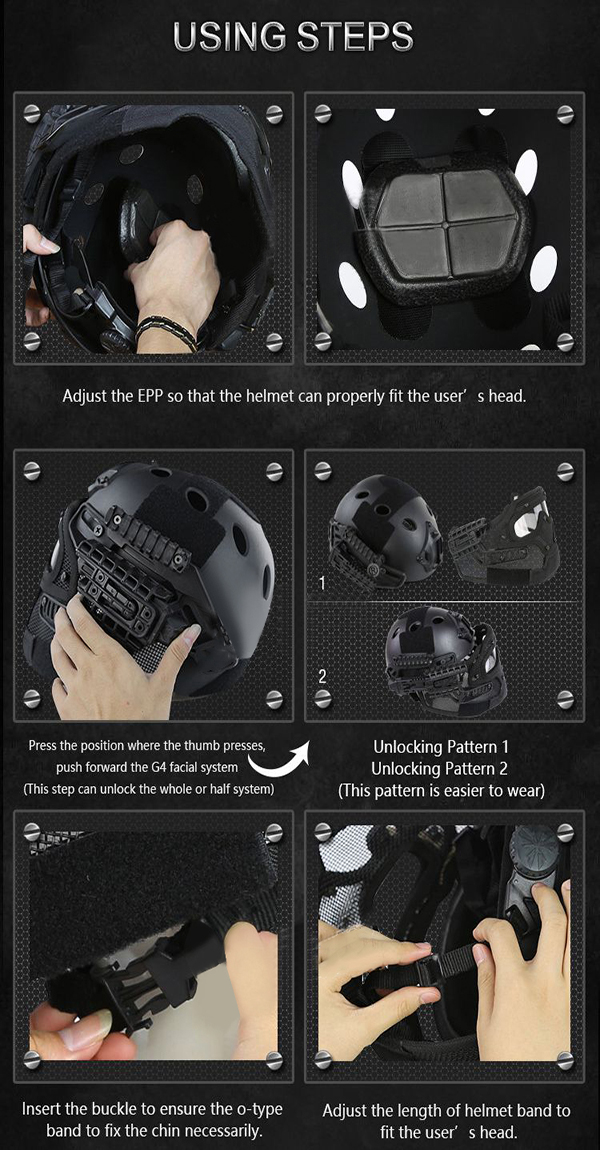 WoSporT Full Face Helmet Protective Casque For Motorcycle Tactical Military Training