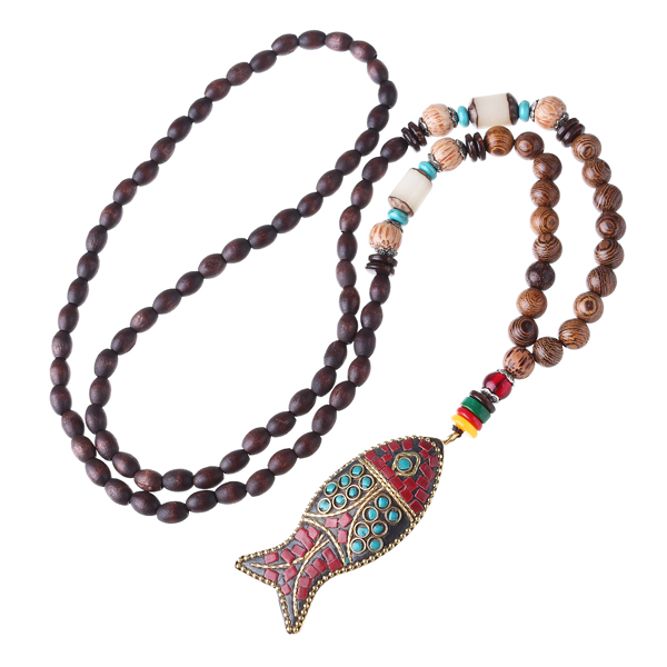 Handmade Nepal Buddhist Mala Wood Beaded Necklace Fish