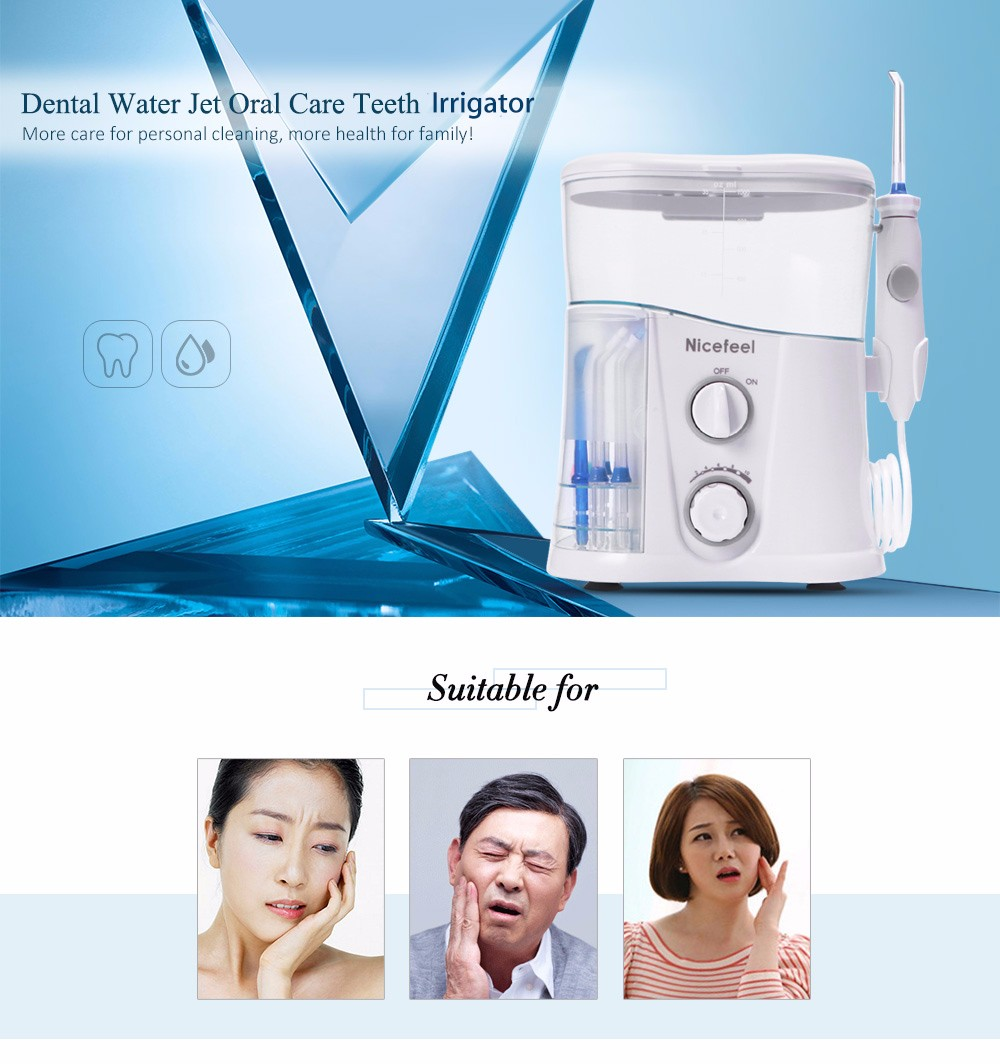 Nicefeel Electric Oral Irrigator Water Flosser with 10 Pressure Settings Toothbrush Dental Care SPA Water Flosser Jet