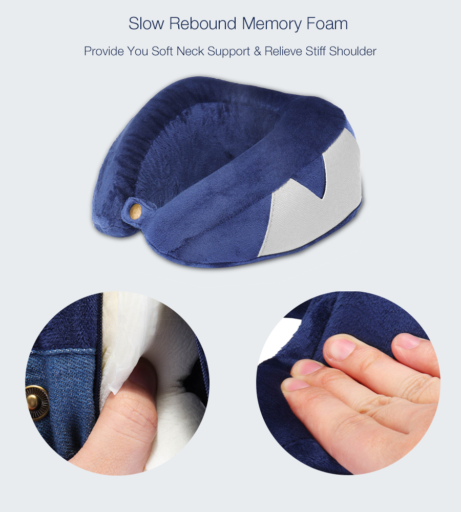 Honana Blue Slow Rebound Memory Cotton Neck Pillow U Type Pillow Storage Pouch Travel Pillow