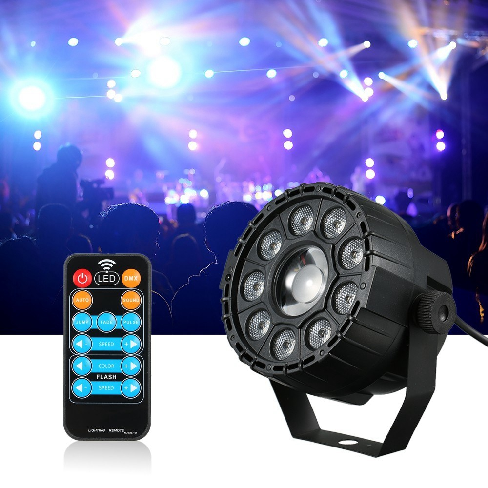 AC90-240V 15W RGB UV Mini 9+1 LED Stage Light Remote Control Sound-activated Par Lamp for Christmas
