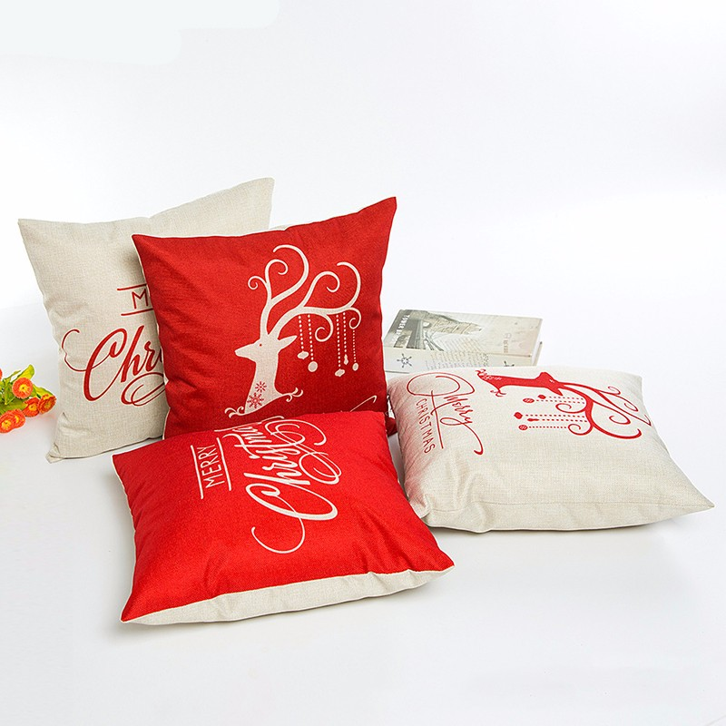 Hot Christmas Decorations For Home Reindeer Jute Pillow Cover Case Merry Christmas Square Linen Pillowcase