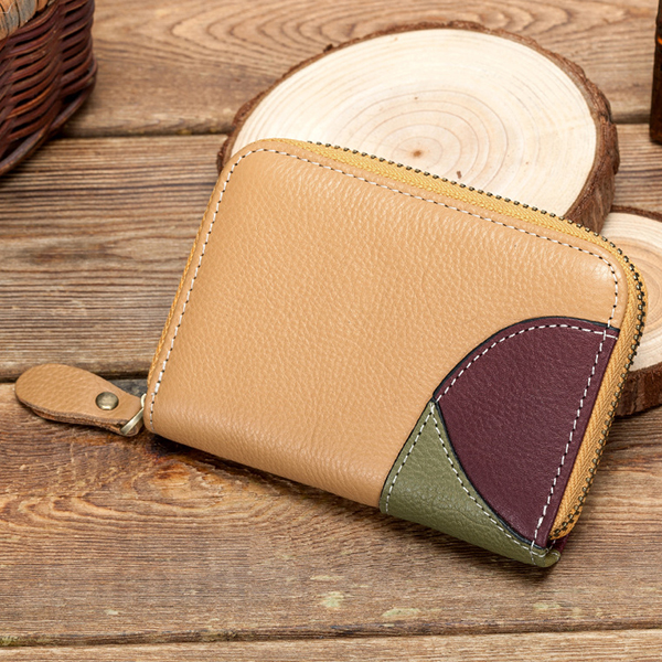 RFID Women Genuine Leather Stitching Multifunction Wallet