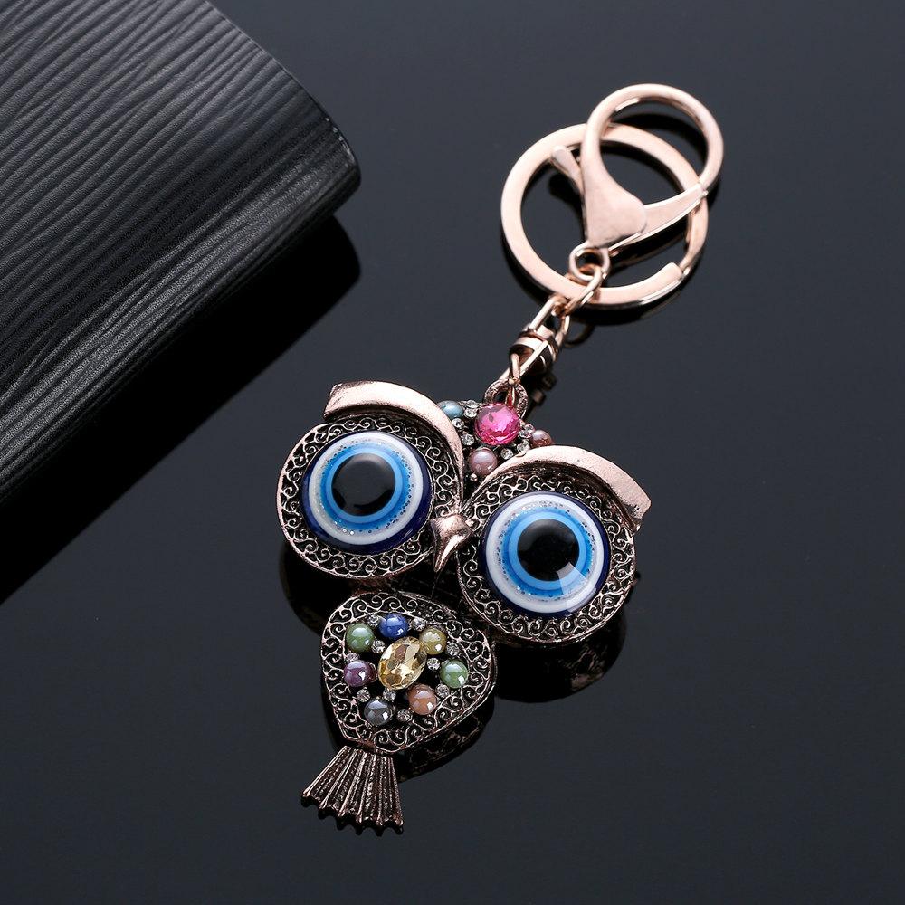 Móc Chìa Khóa Mặt Dây Xe Ô Tước Vintage Owl