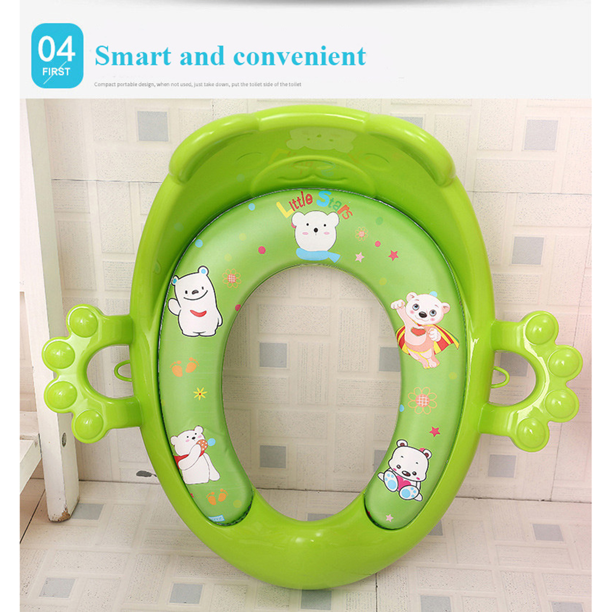 Baby Toilet Trainer Cute Cartoons Safe Handles Kids Toddler Potty Chair Seat Baby Potties Seat