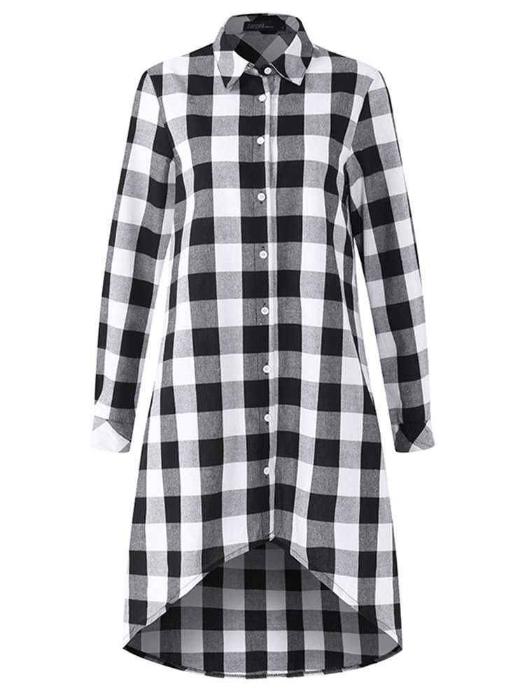 Plaid Mini Shirt Dress