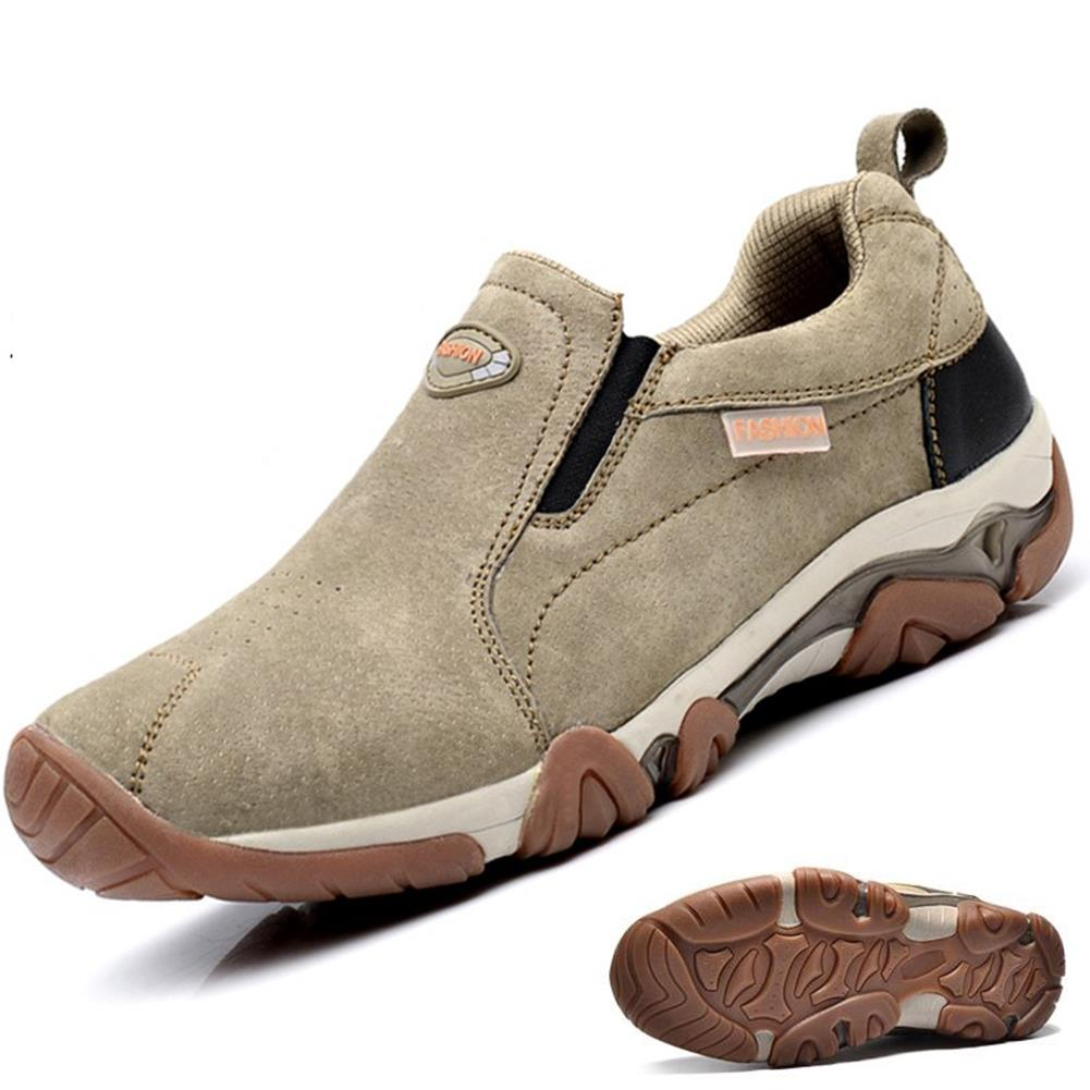 Mens Outdoor Breathable Athletic Shoes Cowhide TPR Elastic Slip-on Sport Sneakers