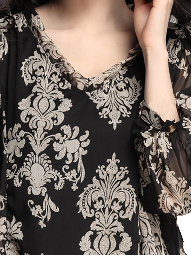 Elegant Loose Women V Neck Long Sleeve Printing Irregular Chiffon Dress