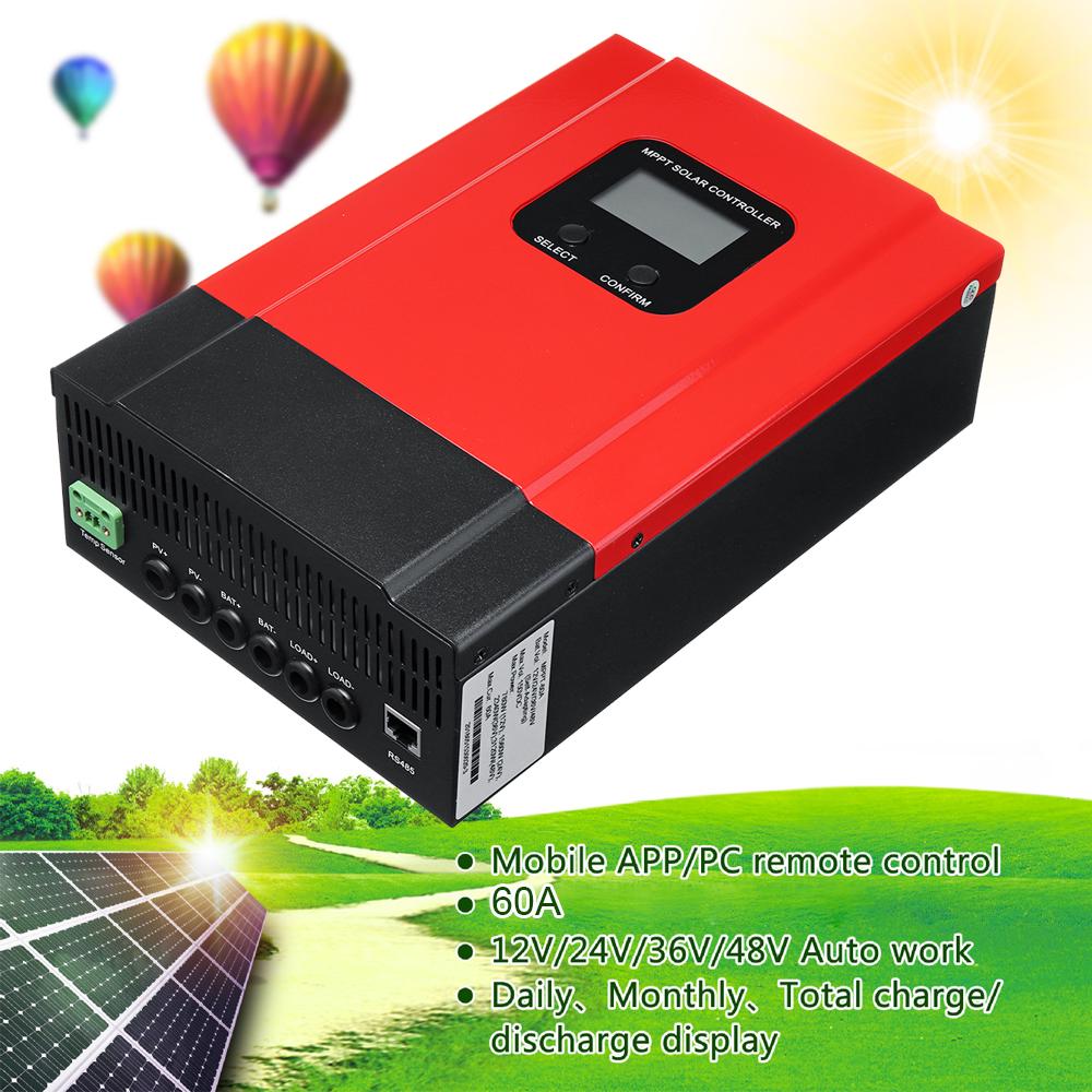 60A LCD MPPT Solar Charge Controller 12V/24V/36V/48V Solar Panel Battery Regulator Max 150V DC Input