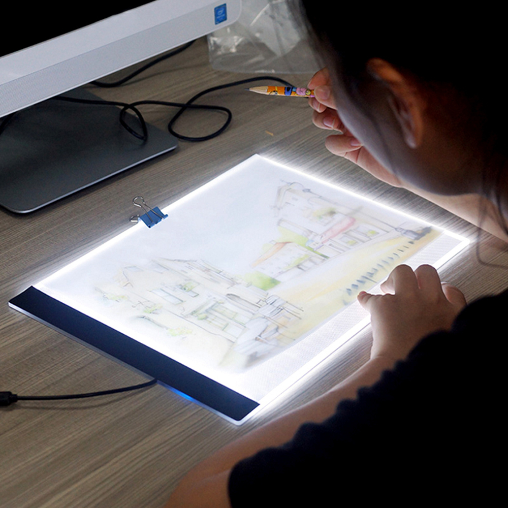 Mrosaa A4 LED Artist Thin Art Stencil Drawing Board Light Box Pad Table