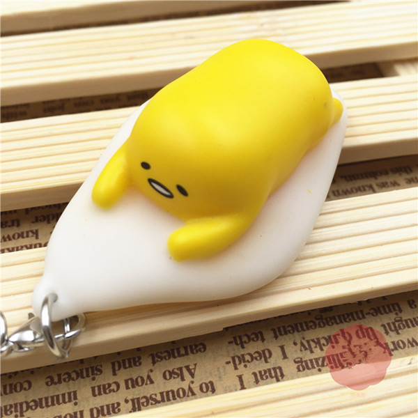 Squishy Squeeze Lazy Egg Squeeze Poo Yolk Stress Reliever Toy 5x3cm Phone Bag Strap Pendent