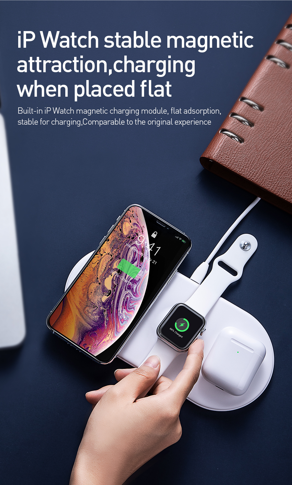 Baseus 3 In 1 Qi Wireless Charger With USB-To-Type-C Cable For Qi-enabled Mobile Phones iPhone XS Max Samsung Galaxy S10+ Apple AirPods 2019 Apple Watch Series 2 3 4