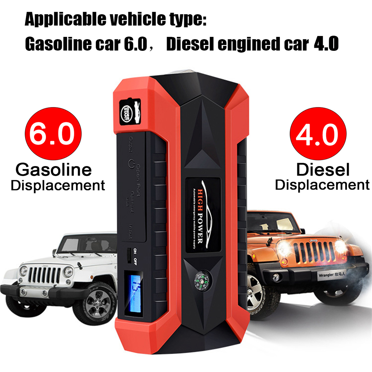 JX29 Portable Car Jump Starter 89800mAh 600A Peak 12V Emergency Battery Booster with LED Flashlight Compass