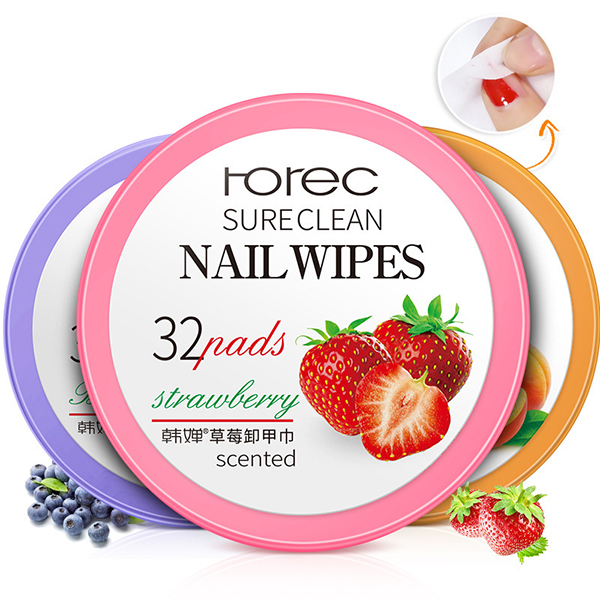 Nail Polish Remover Cotton Pads Manicure Cleaning Tools Fruit Smell Nails Treatment