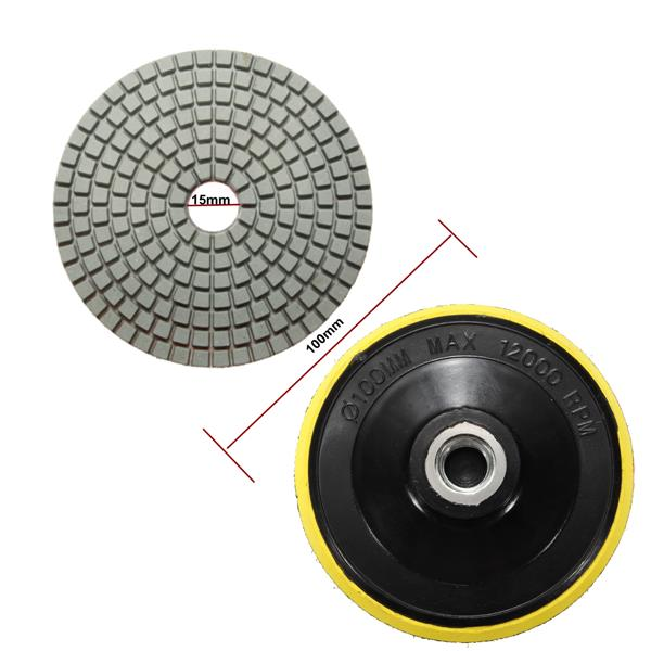 14pcs 4 Inch 100mm 30-3000 Grit Wet/Dry Diamond Polishing Pads Set
