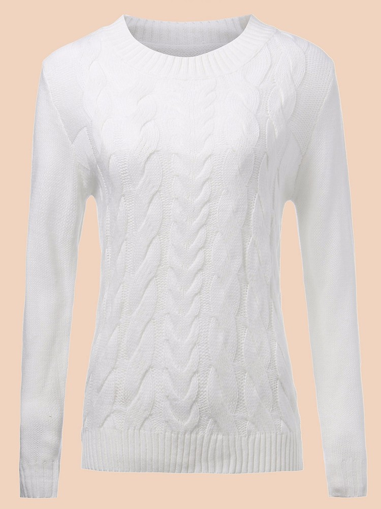 Pure Color Twisted Knitted Sweater