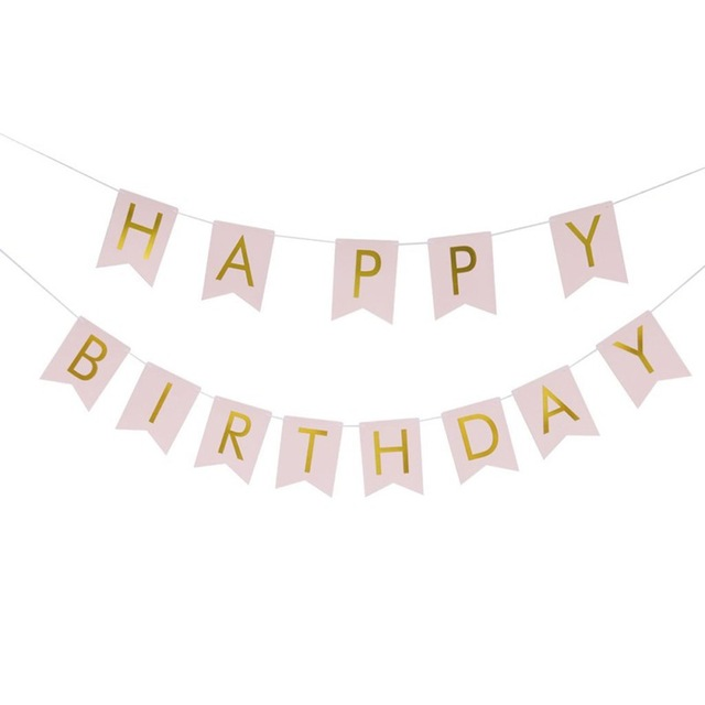 1 SET Paper Happy Birthday Party Bunting Banner Letter Hanging Pastel Pink String Flags Party Decorations