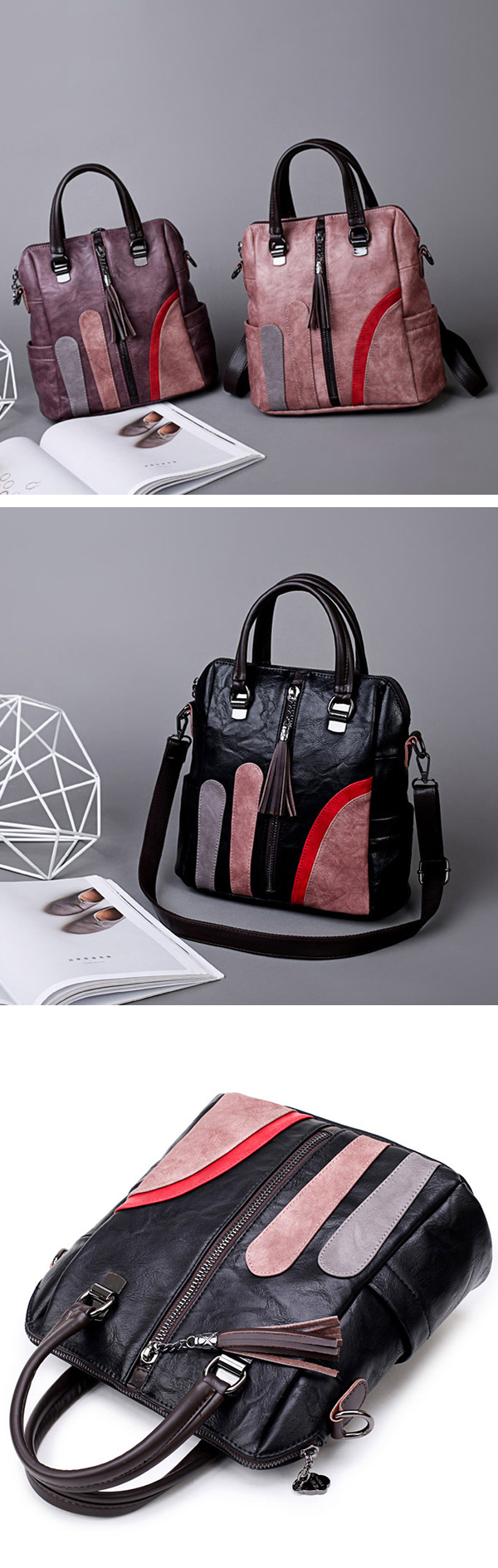 Women Multi-function Handbags Hit Color Shoulder Bags Fashion Backpack