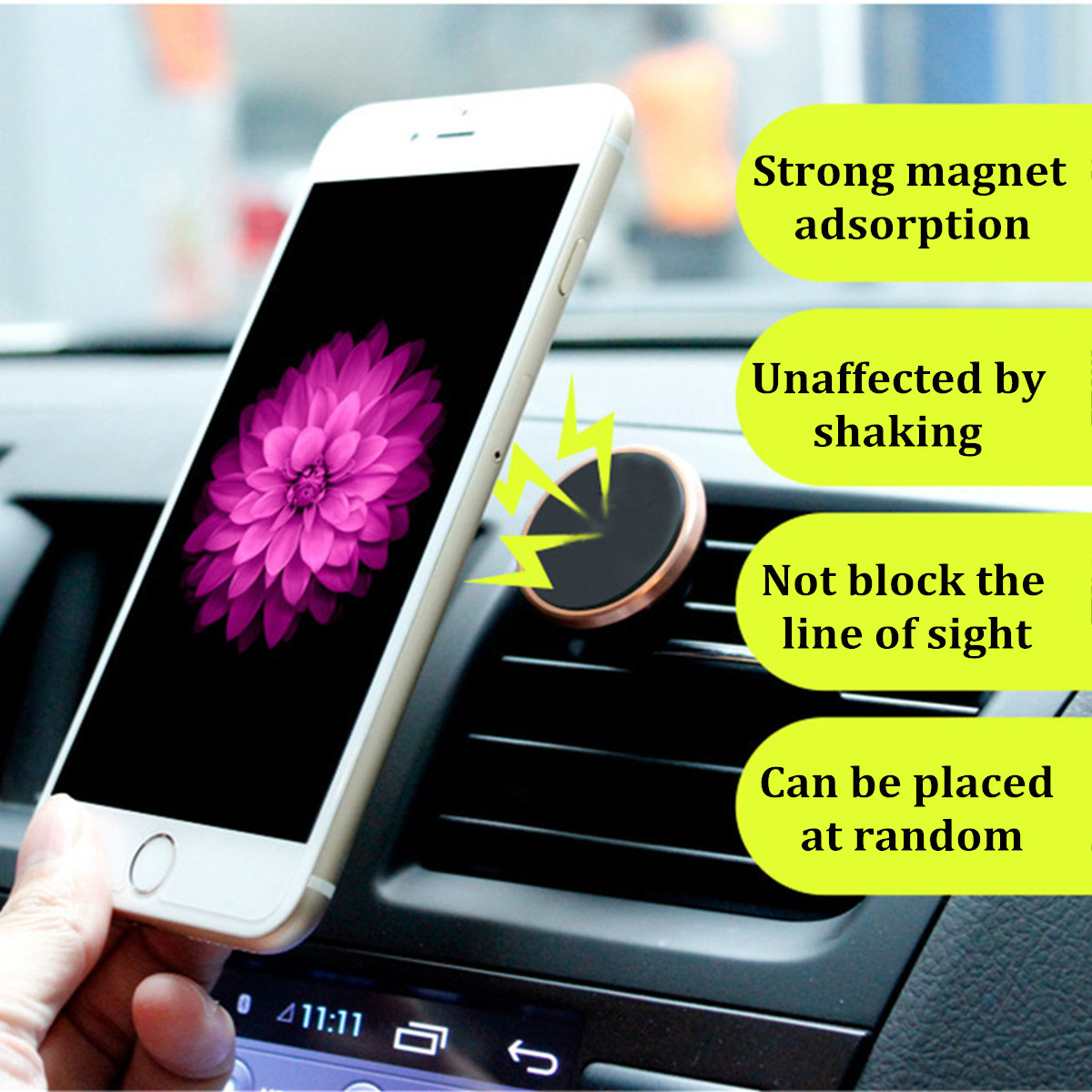 2 in 1 Universal 360 Degree Rotation Sticky Magnetic Car Air Vent Holder PhonE Mount for Smartphone