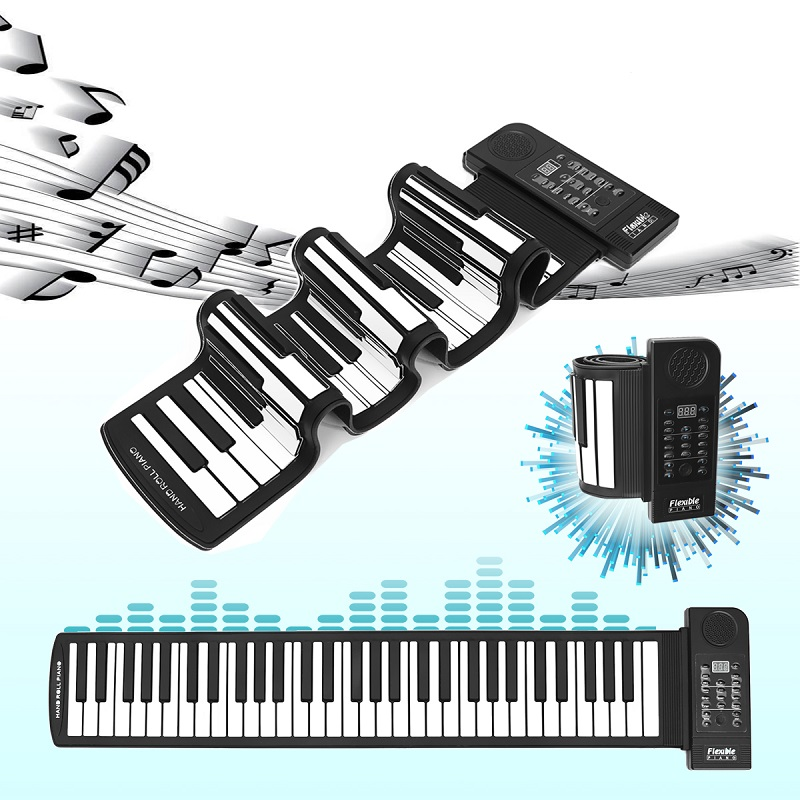 Portable Roll Up 61 Keys MIDI Soft Flexible Electronic Piano Music Keyboard