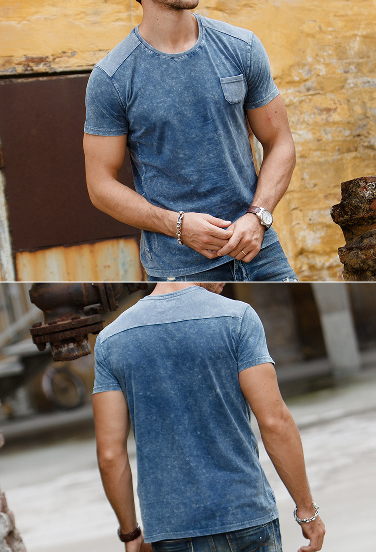 Men's Leisure Fashion Pure Cotton T-shirt Denim Dyeing Design Personality Short Sleeve T-shirt