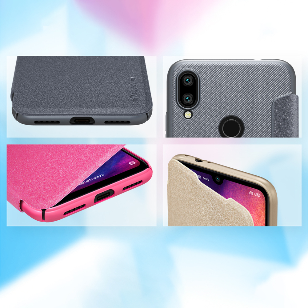 NILLKIN Sparkle Flip Smart Sleep PU Leather Protective Case With Magnetic For Xiaomi Redmi Note 7/ Redmi Note 7 Pro