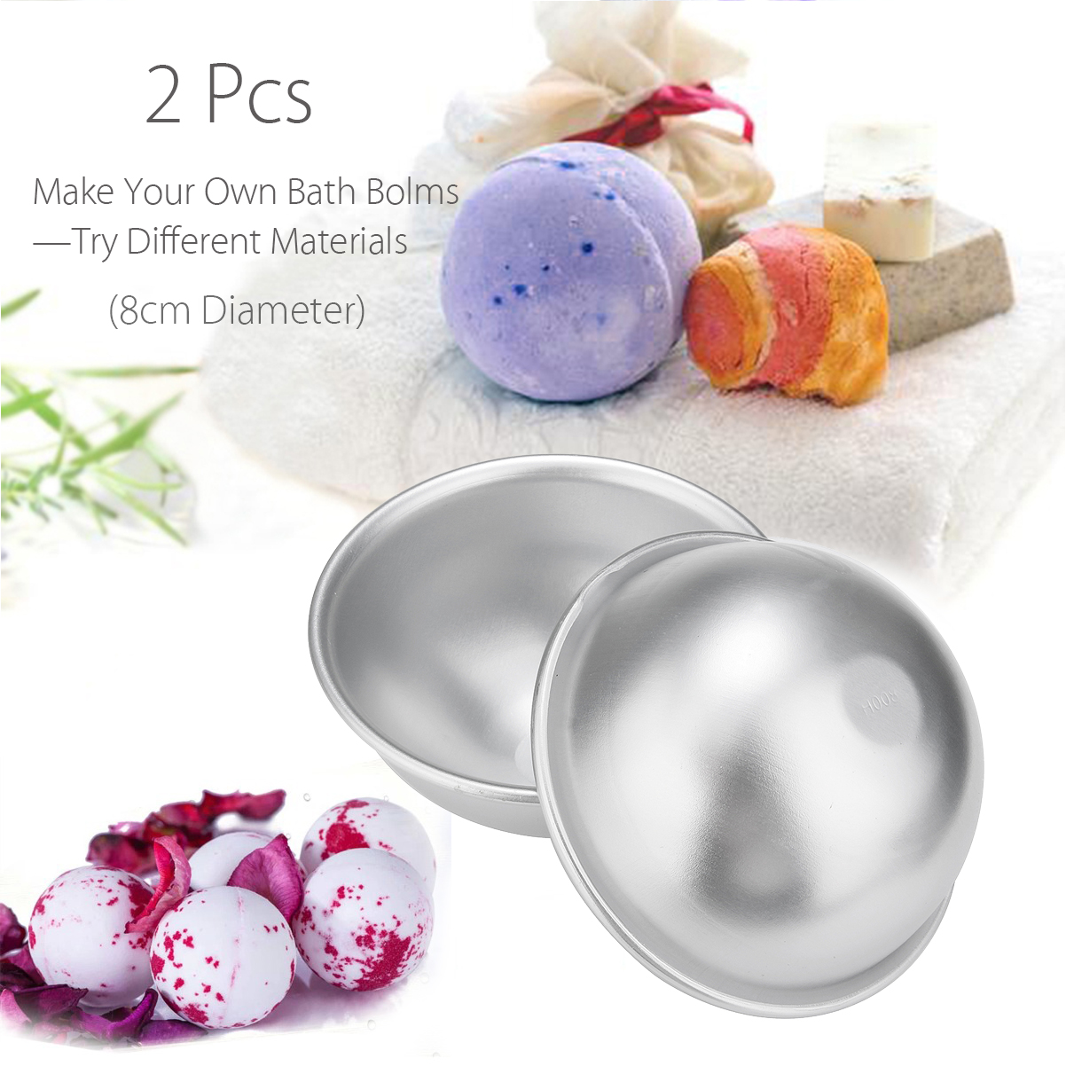 2Pcs 8cm Aluminum Bath Molds Sphere Round Ball Mould DIY Handmade Crafts