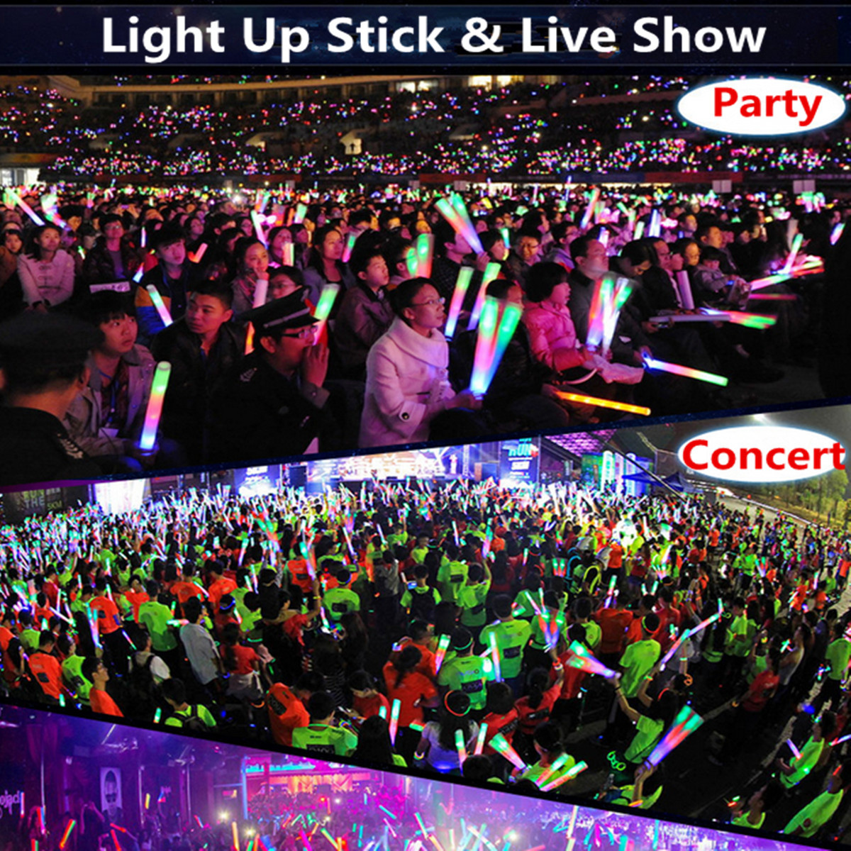 1PCS Light Up Multicolor LED Foam Wands Glow Stick Flash Light