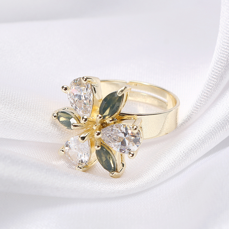 JASSY® Elegant Women Adjustable Ring Gold Plated Trinity Drop Flower Zircon Gift Gemstone Jewelry