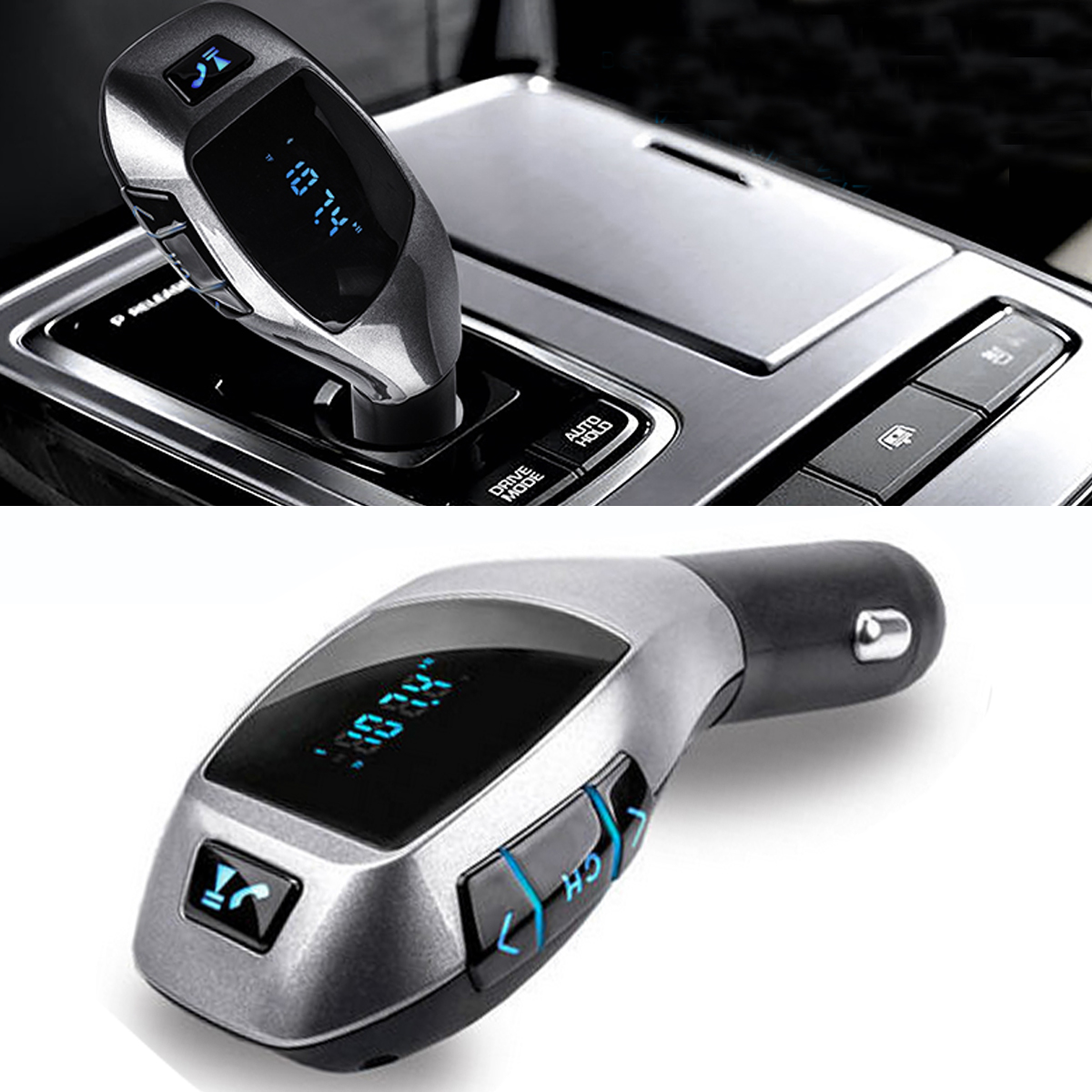 Wireless bluetooth Car Kit FM Transimittervs Hands Free LCD MP3 Player USB Charger