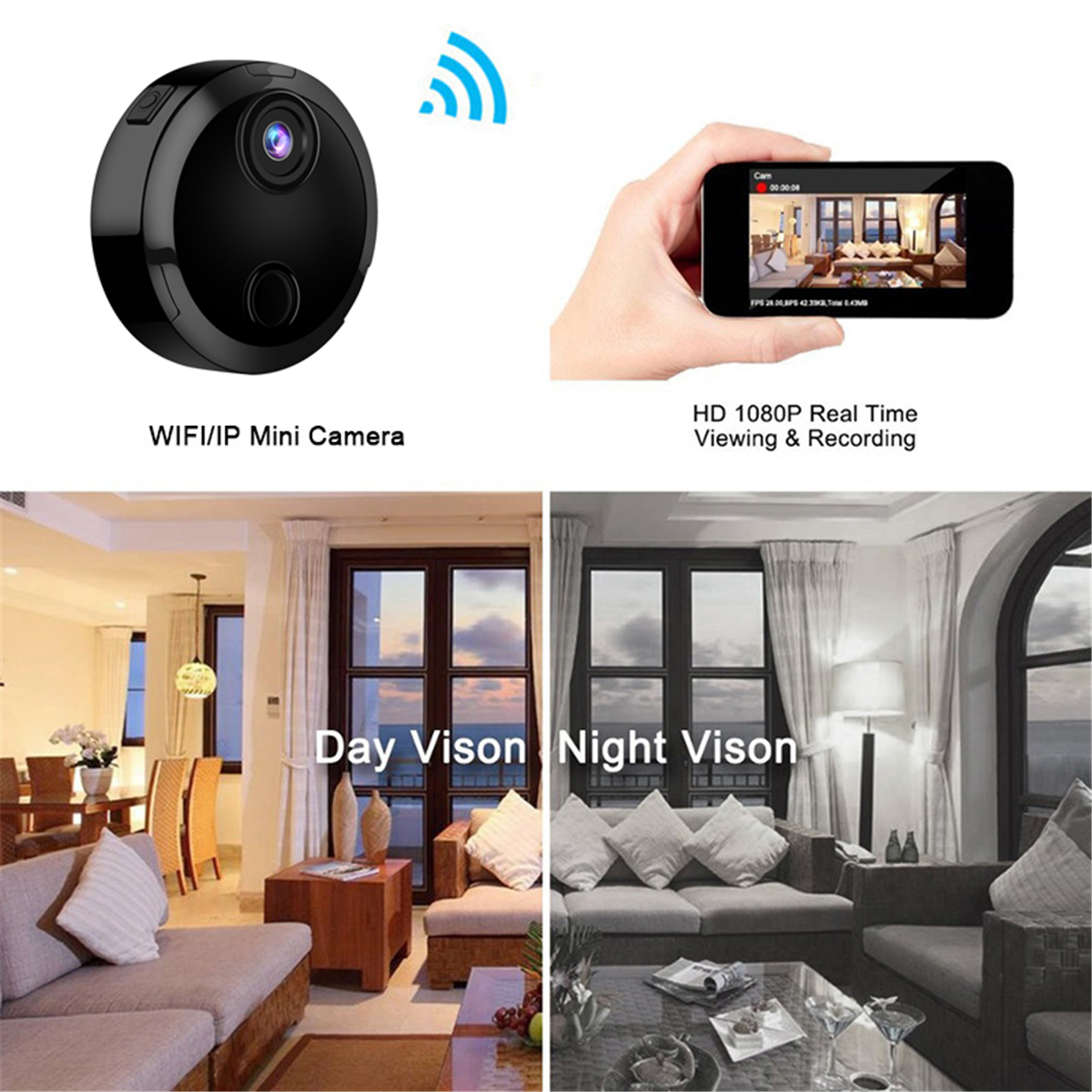 Mini HD 1080P Wireless WiFi IP Security Camera Night Vision Home Camcorder APP Control