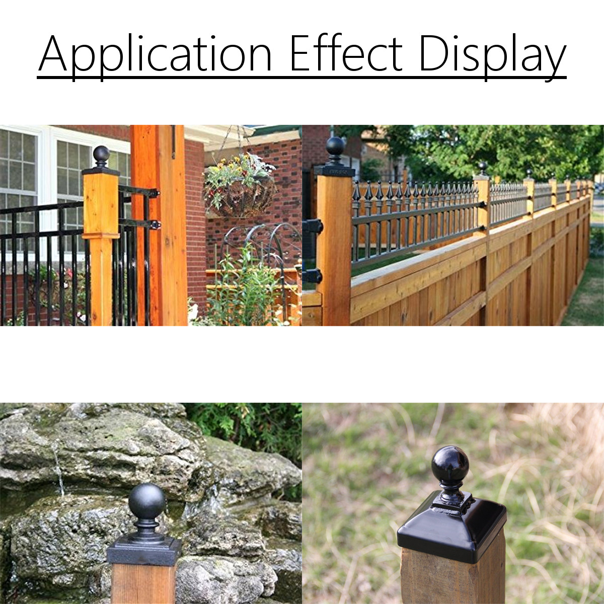 100mm Iron Ball Top Fence Finial Post Cap with Flat Square Base Decor Protection
