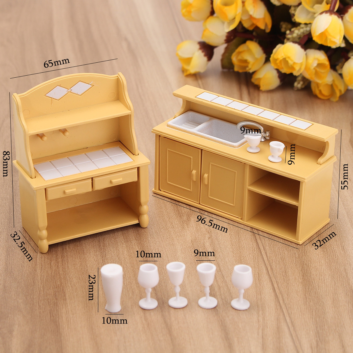 Plastic Kitchen Miniature Doll House Accessories Furniture Dining Set Room Kids Toy