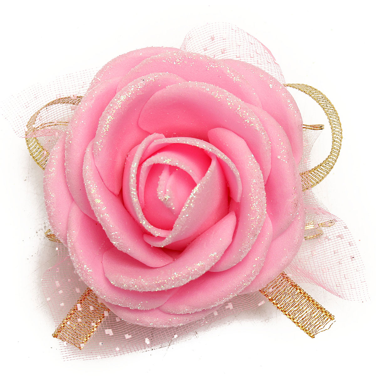 Bridal Bridesmaid Foam Artificial Rose Flower Elastic Band Wrist Corsage Wedding Party Supplies