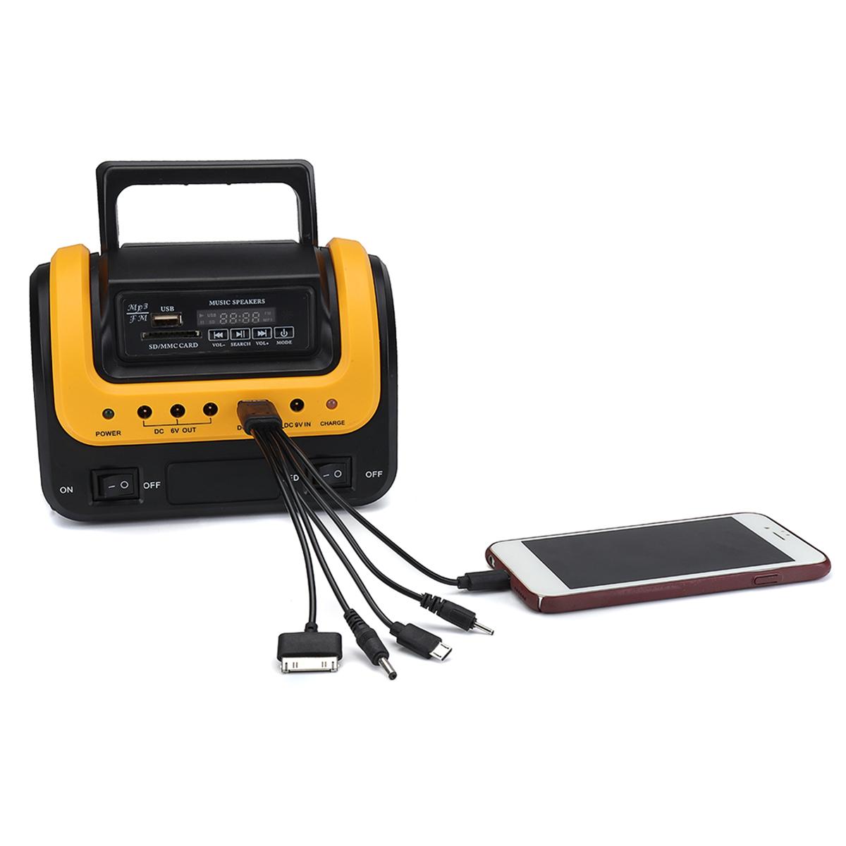 100-240V 3000mAh Rechargeable LED MP3 FM Solar Panel Power Lighting Charging System Set